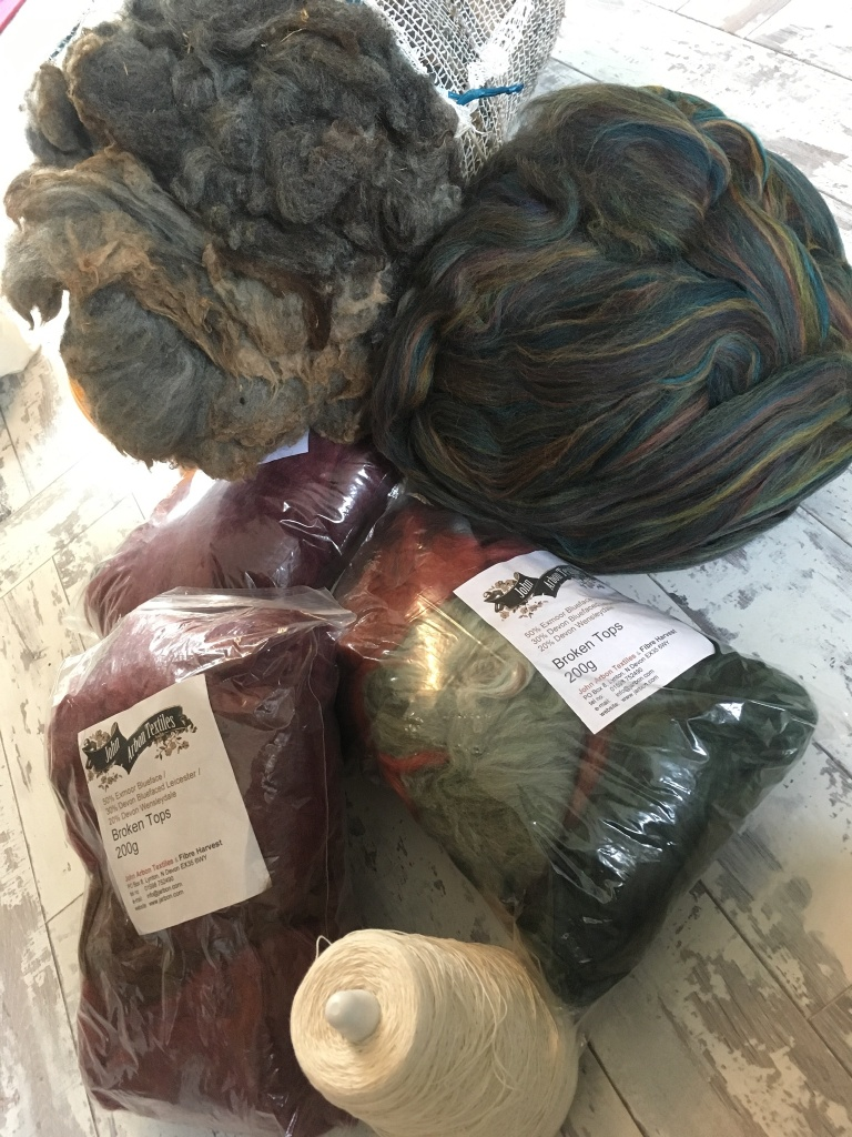 Collected purchases from Fibre East. Mostly fibre, plus one cone of yarn